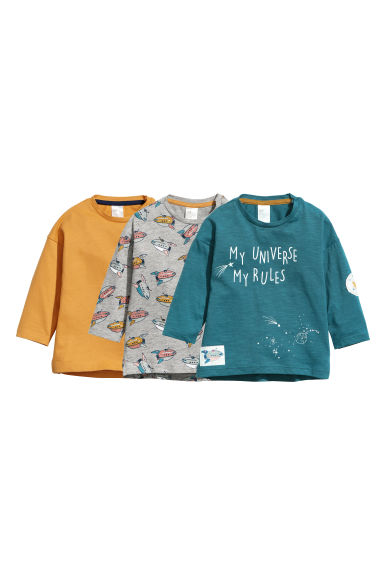 3-pack long-sleeved tops - Petrol - Kids | H&M CN 1