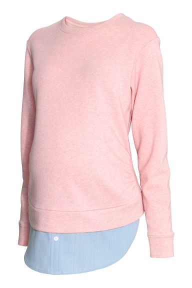 MAMA Double-layered top - Light pink marl -  | H&M GB