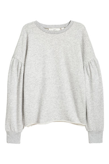 Puff-sleeved sweatshirt - Light grey - Ladies | H&M GB