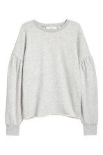 Puff-sleeved sweatshirt - Light grey - Ladies | H&M IE 2