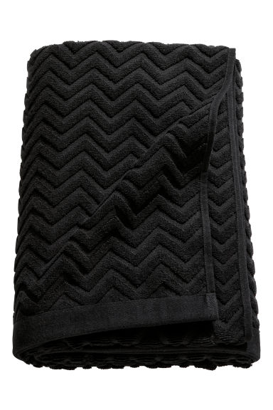 Jacquard-weave bath sheet - Black - Home All | H&M CN