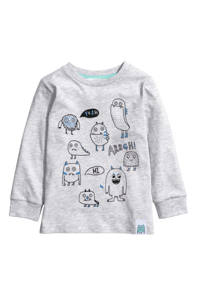 Jersey top with a motif - Light grey - Kids | H&M