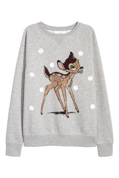 Sweatshirt with a print motif - Light grey/Bambi - Ladies | H&M IE