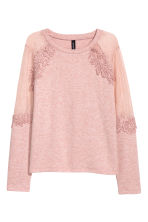 Fine-knit jumper with lace - Powder pink/Marled - Ladies | H&M 1
