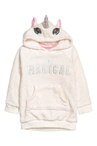 Hooded fleece top - White/Unicorn - Kids | H&M GB