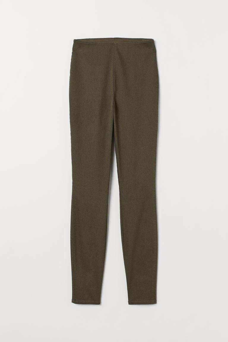 Stretch trousers - Dark khaki green - Ladies | H&M GB