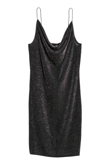 Fitted dress - Black/Glittery - Ladies | H&M IE
