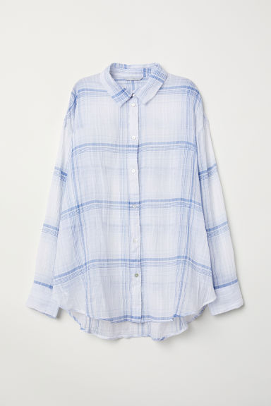 Cotton shirt - White/Blue checked - Ladies | H&M CN