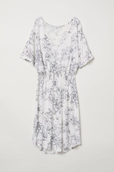 Jersey dress with smocking - White/Floral - Ladies | H&M GB