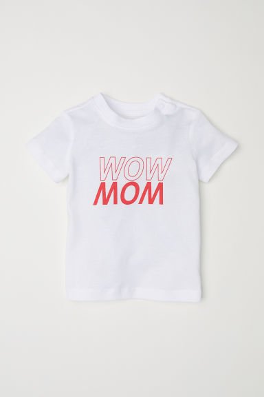 Text-print T-shirt - White/Wow Mom - Kids | H&M CN