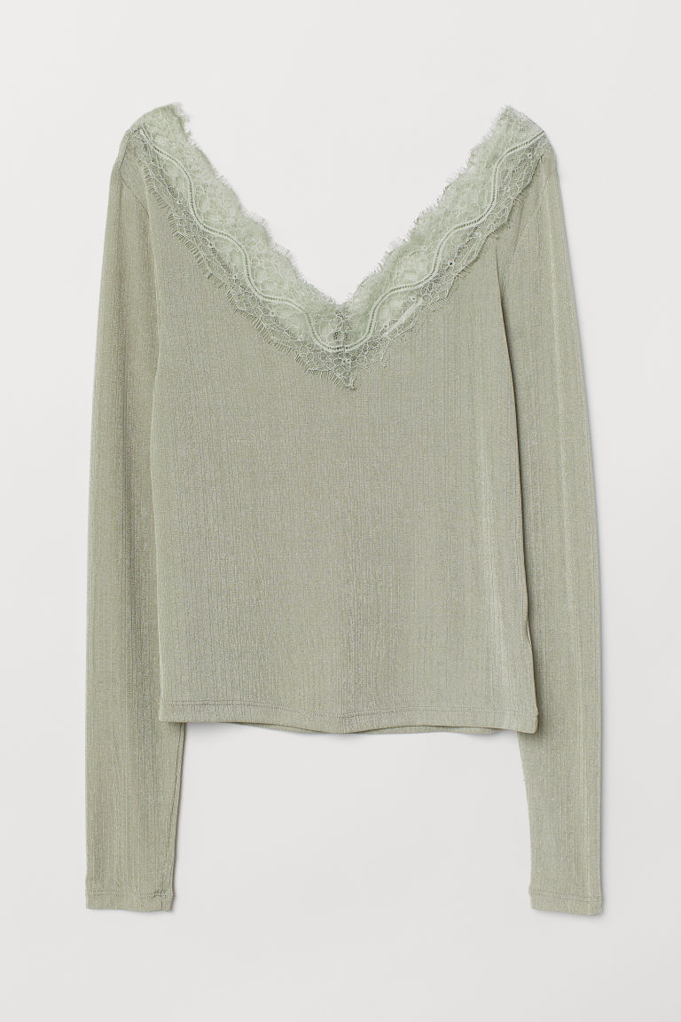 Top with lace details - Dusky green - Ladies | H&M GB