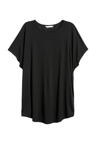 Top with cap sleeves - Black -  | H&M