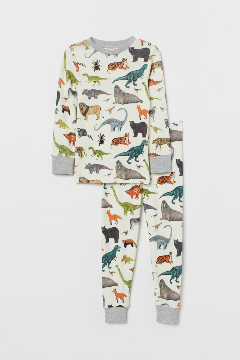Patterned pyjamas - Natural white/Animals - Kids | H&M GB