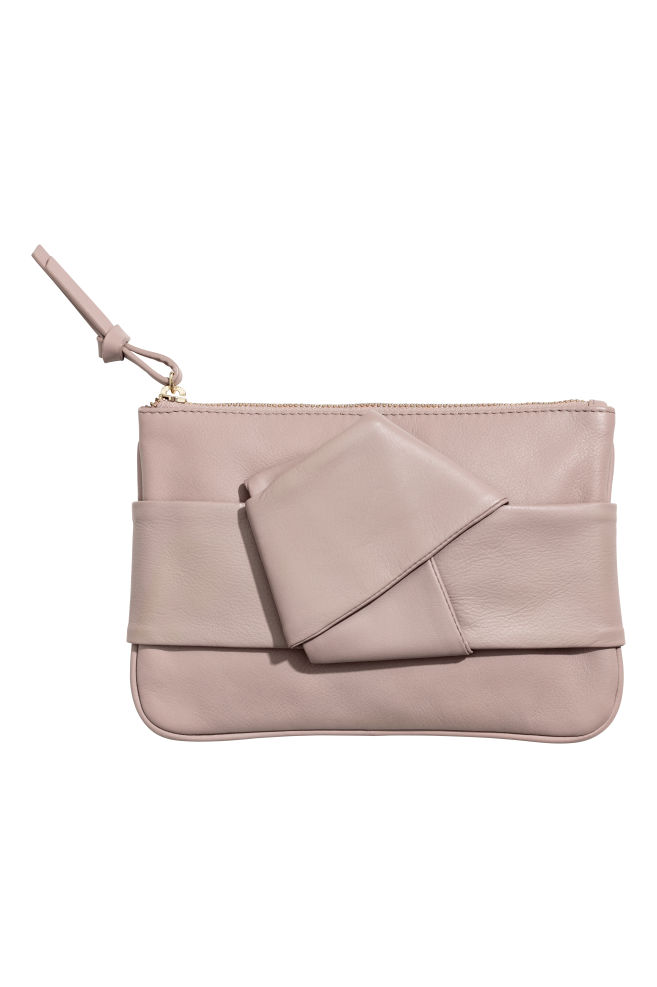 Leather Clutch Bag Taupe Las H M