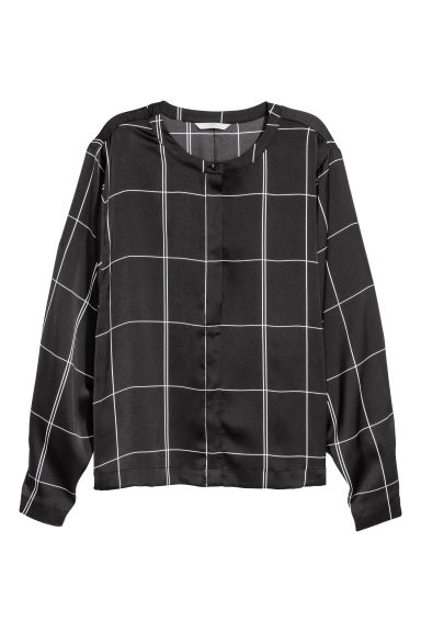 Wide-sleeved blouse - Black/White checked - Ladies | H&M