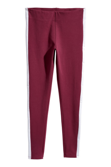 Legging met biezen - Bordeauxrood -  | H&M NL