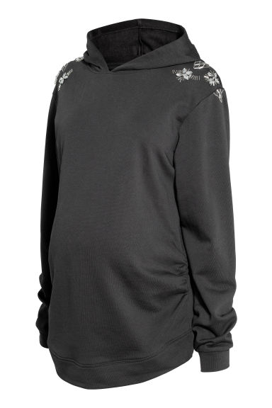 MAMA Hooded top with sparkles - Black/Sparkly stones - Ladies | H&M
