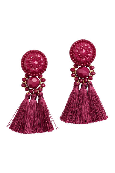 Earrings with tassels - Dark pink - Ladies | H&M