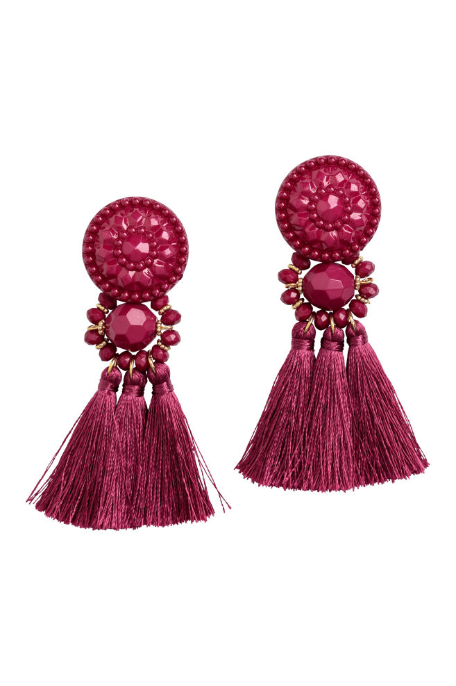 Earrings with tassels - Dark pink - Ladies | H&M US 1