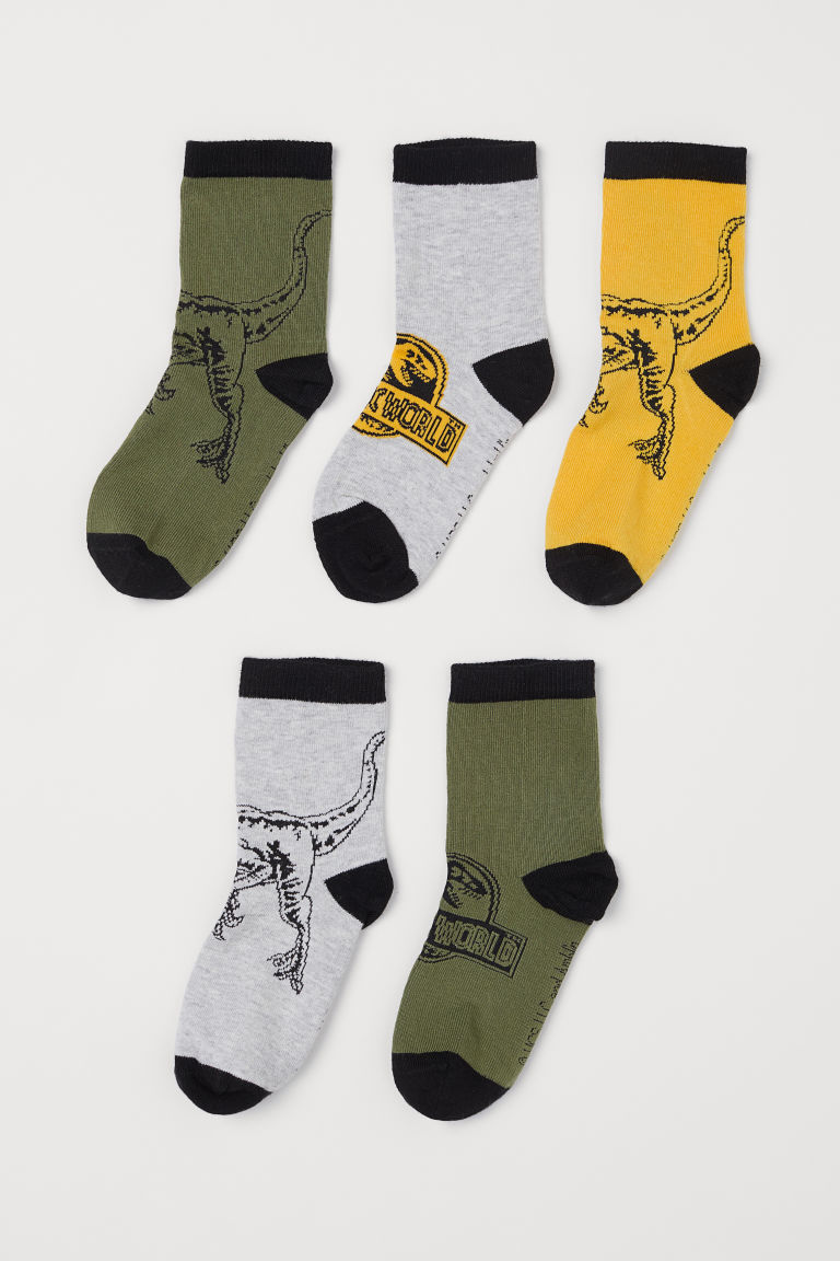 5-pack socks - Khaki green/Jurassic World - Kids | H&M GB
