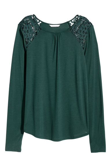 Long-sleeved top with lace - Emerald green -  | H&M CN