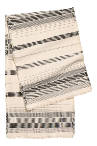 Jacquard-weave table runner - Natural white/Anthracite grey - Home All | H&M CN