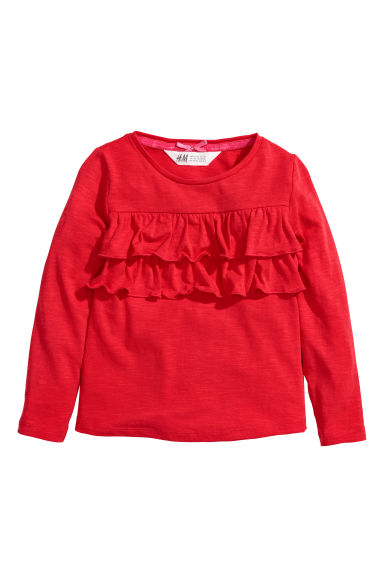 Jersey top with a motif - Red/Flounces - Kids | H&M CN