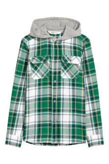 Twill hooded shirt