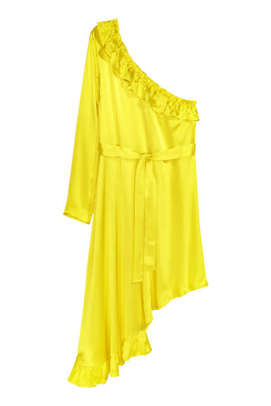 Asymmetric flounced dress - Neon yellow - Ladies | H&M