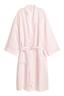 Washed linen dressing gown