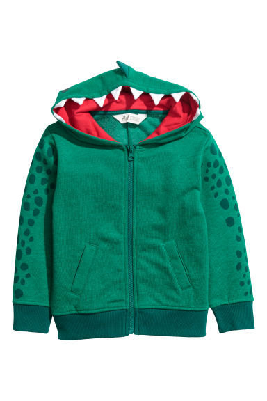 Printed hooded jacket - Green/Dinosaur - Kids | H&M