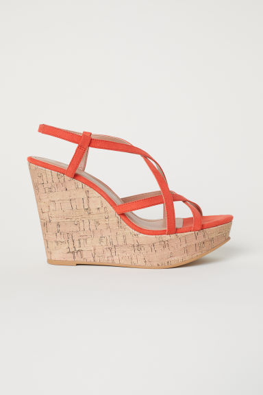 Wedge-heel sandals - Orange - Ladies | H&M CN