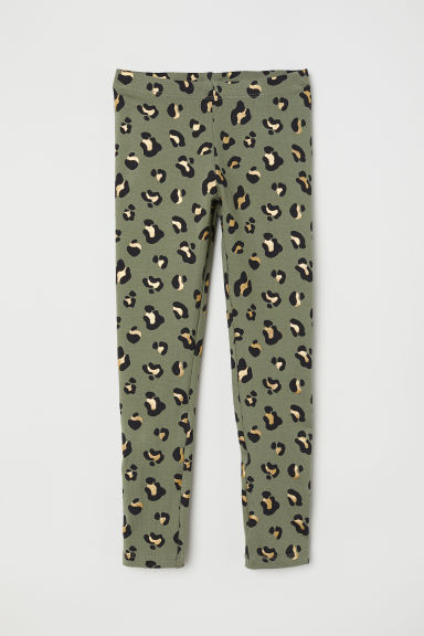 Leggings in jersey - Verde kaki/leopardato - BAMBINO | H&M IT