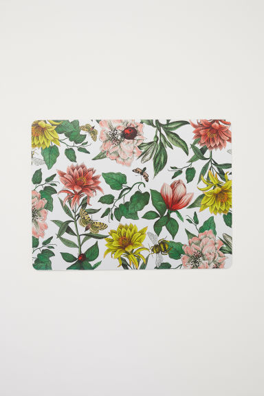Cork table mat - White/Floral - Home All | H&M CN