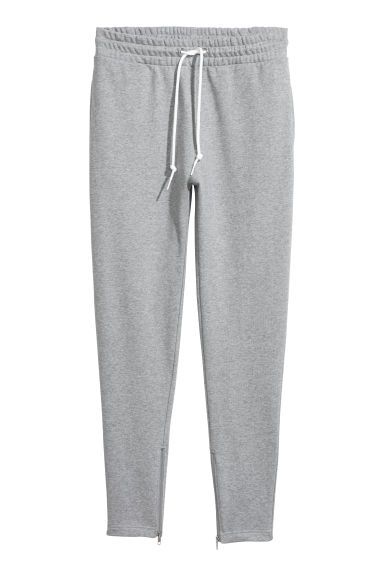 Joggers with zips - Grey marl - Men | H&M