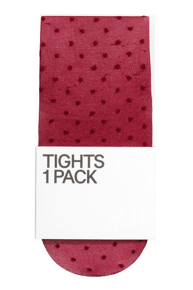 Spotted tights - Dark red/Spotted - Ladies | H&M IE 1