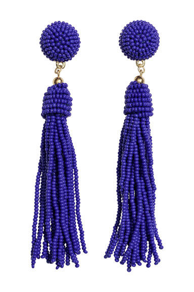 Earrings with glass beads - Bright blue - Ladies | H&M CN