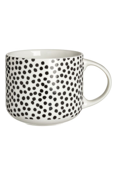 Mugg i porslin - Vit/Svartprickig - Home All | H&M SE