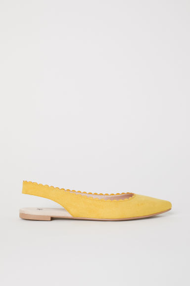 Scallop-edged ballet pumps - Yellow - Ladies | H&M CN