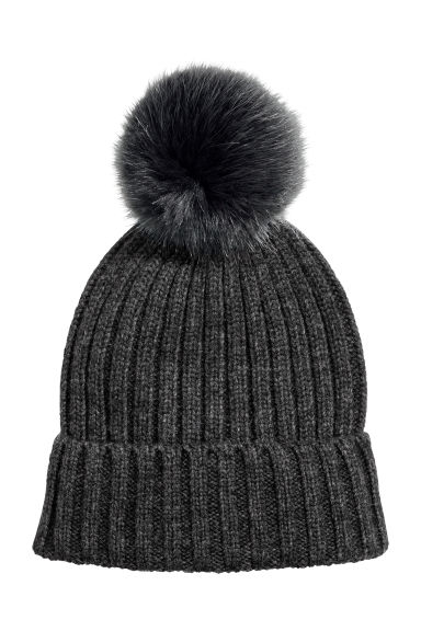 Rib-knit hat - Dark grey marl - Ladies | H&M GB 1