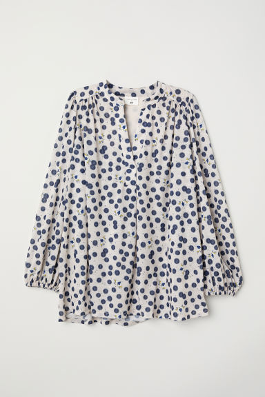 Tricot top met dessin - Roomwit/dessin - DAMES | H&M BE