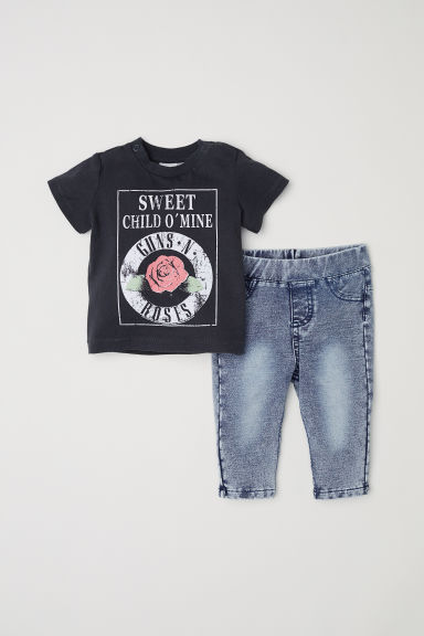 T恤和打底裤 - 深灰色/Guns N' Roses - Kids | H&M CN