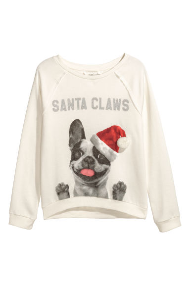 Sweatshirt with a motif - Natural white/Dog -  | H&M CN