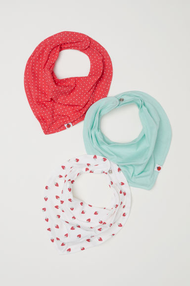 3-pack triangular scarves - White/Strawberries - Kids | H&M CN
