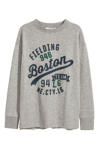Printed jersey top - Grey marl/Boston - Kids | H&M CN