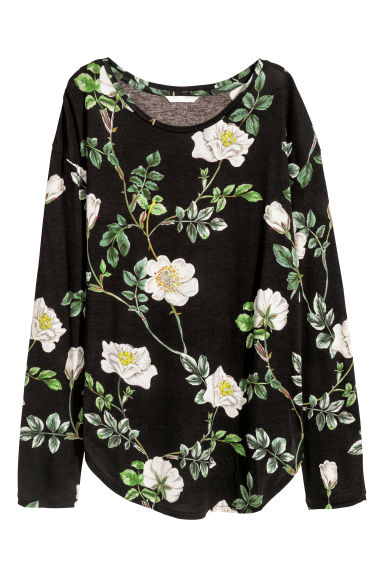 Long-sleeved jersey top - Black/Floral -  | H&M