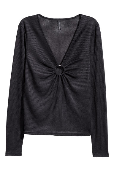 Jumper with a metal ring - Black - Ladies | H&M IE