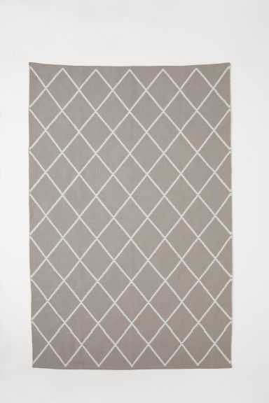Large jacquard-weave rug - Light grey/White patterned - Home All | H&M CN