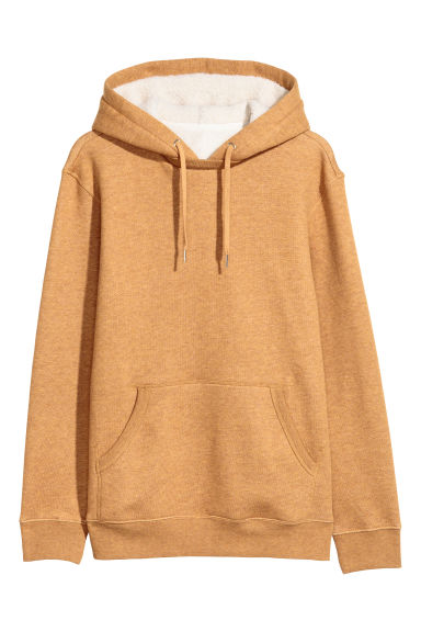 Pile-lined hooded top - Dark yellow marl - Men | H&M GB