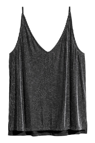 Glittery top - Black/Silver-coloured -  | H&M CN